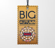 Autumn sale sticker with in vintage style. Big sale banner with autumn leaves. Vector Illustration. EPS 10 Stock Image