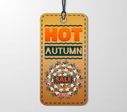 Autumn sale sticker with in vintage style. Hot sale banner with autumn leaves. Vector Illustration. EPS 10 Stock Photography