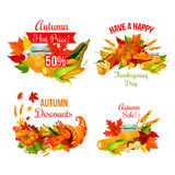 Autumn sale symbol set of Thanksgiving holiday Royalty Free Stock Images