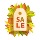Autumn sale tag label template. Fall Pricetag Royalty Free Stock Image