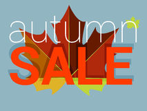 Autumn sale tag, price or discount card. Maple leaf Stock Images
