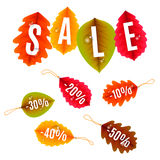 Autumn Sale Tags. Collection of autumn sale discount tags with color leaves Stock Images