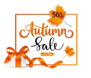 Autumn Sale template design. Lettering with gift box and red maple leaves.Vector illustration stock illustration