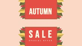 Autumn sale text animation banner with colorful seasonal stock illustration