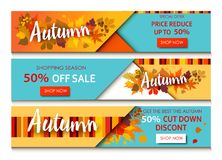 Autumn sale text banners for September. Shopping promo or 50 autumnal shop discount. Design decoration with maple, oak leaves, rowan berries in bright style Royalty Free Stock Photography
