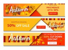 Autumn sale text banners for September. Shopping promo or 50 autumnal shop discount. Design decoration with maple, oak leaves, rowan berries in bright style Stock Photo