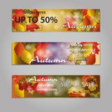 Autumn sale text banners for September or October shopping promo. Or 50 autumnal shop discount. Vector maple and oak acorn leaf foliage, mushroom and berry for royalty free illustration