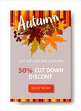 Autumn sale text banners for September shopping promo or 50 aut. LAutumn sale text banners for September shopping promo or 50 autumnal shop discount. Design Royalty Free Stock Photography