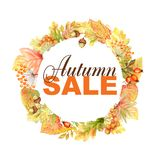Autumn Sale text leaf bright Frame isolated on a white background. Watercolor autumn leaf hand drawn illustration for. Autumn Sale text. Beautiful bright Autumn royalty free stock images