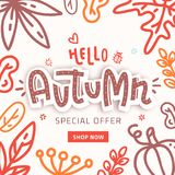 Autumn sale text vector banner with colorful seasonal fall leaves in orange background for shopping discount promotion. Vector illustration vector illustration