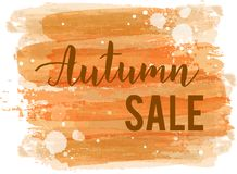 Autumn sale trendy banner. Brushed watercolor  background with handwritten modern calligraphy text `Autumn sale`. Sale promotion trendy banner Royalty Free Stock Photo