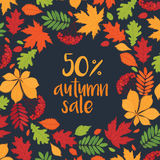 Autumn sale. Up to 50% off. Fall of the leaves. Background with wreath of autumn leaves. Sketch, doodles, design elements. Vector Royalty Free Stock Photography