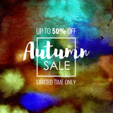 Autumn Sale up to 50 percent off. Seasonal discounts. Abstract colorful watercolor banner with hand drawn lettering. Autumn Sale up to 50 percent off. Limited Stock Illustration