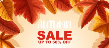 Autumn sale up to 50 percent poster design. Illustration Royalty Free Stock Photography