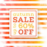 Autumn sale up to 60 percents off banner. Over striped watercolor background. Vector illustration Royalty Free Stock Photography