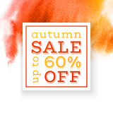 Autumn sale up to 60 percents off banner. Over watercolor background. Vector illustration Stock Photos