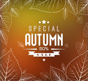 Autumn sale vector background. Autumn sale vector retro poster with abstract blurred fall background and white leafs Stock Image