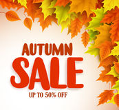 Autumn sale vector banner design with orange and yellow maple leaves stock illustration