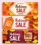 Autumn sale vector banner design set with colorful maple leaves elements vector illustration