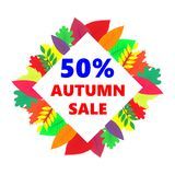 Autumn sale, vector design banner with colored leaves. Illustration.r royalty free illustration