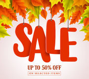 Autumn sale vector design with red sale text hanging in colorful maple leaves vector illustration