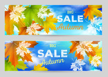 Autumn Sale vector horizontal banners Royalty Free Stock Photos