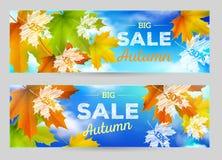 Autumn Sale vector horizontal banners Royalty Free Stock Photos