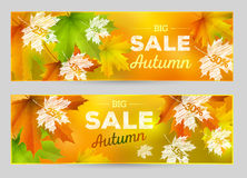 Autumn Sale vector horizontal banners Stock Photography