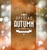 Autumn sale vector retro poster. With abstract blurred fall background Stock Photography