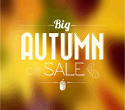 Autumn sale vector retro poster. With abstract blurred fall background Stock Photo