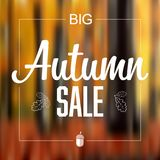 Autumn sale vector retro poster. Autumn sale vector social media template with abstract blurred fall background Stock Photos