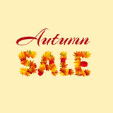 Autumn sale. Vector. Autumn sale. The text is made up of autumn leaves. Vector illustration for bussines presentation. Cartoon style Stock Photo
