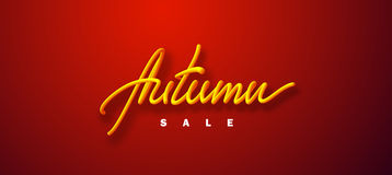 Autumn sale. Vector typographic illustration of sale sign with 3d handlettered inscription on vibrant red background. Promotional business label Stock Images