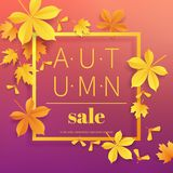 Autumn sale vintage typography poster with gold paper cut leaves on modern gradient backdrop.Seasonal sale flayer. Fall. Leaves 3d paper style background stock illustration