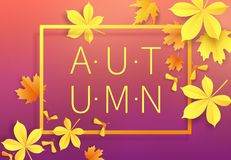 Autumn sale vintage typography poster with gold paper cut leaves on modern gradient backdrop.Seasonal sale flayer. Fall. Leaves 3d paper style background vector illustration