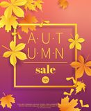 Autumn sale vintage typography poster with gold paper cut leaves.Seasonal sale flayer. Fall leaves 3d paper style. Background. Vector illustration stock illustration