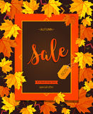 Autumn sale vintage vector typography poster with autumn colour leaves. Stock Photo