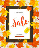Autumn sale vintage vector typography poster with autumn colour leaves. Autumn sale vintage vector typography poster with autumn color leaves. Vector Royalty Free Stock Photo
