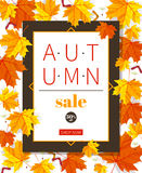 Autumn sale vintage vector typography poster with autumn colour leaves. Autumn sale vintage vector typography poster with autumn color leaves. Vector Stock Image