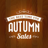 Autumn sale vintage  on wood background Royalty Free Stock Images