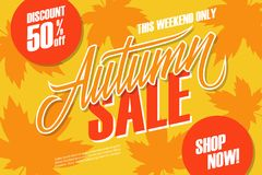 Autumn Sale. This weekend special offer banner with hand lettering and autumn leaves for seasonal shopping. Discount up to 50% off. Shop now! Vector Royalty Free Stock Photo