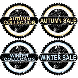 Autumn sale and winter sale rubber stamps Royalty Free Stock Images