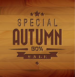 Autumn sale  wooden background Stock Image