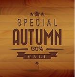 Autumn sale  wooden background. Autumn sale  wooden retro background Stock Image