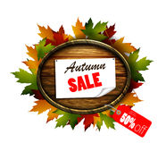 Autumn sale wooden signboard Royalty Free Stock Image