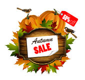 Autumn sale wooden signboard Stock Photography