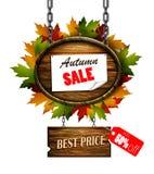Autumn sale wooden signboard Stock Image