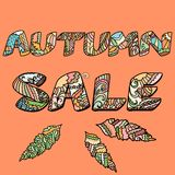 Autumn sale words with hand drawn elements Royalty Free Stock Photography