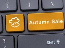 Autumn sale on yellow button Royalty Free Stock Photo