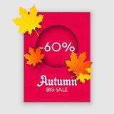 Autumn sale yellow fall leaves background. Colorful foliage nature element banner vector. Business retail abstract decoration spac. E. Color poster blank royalty free illustration